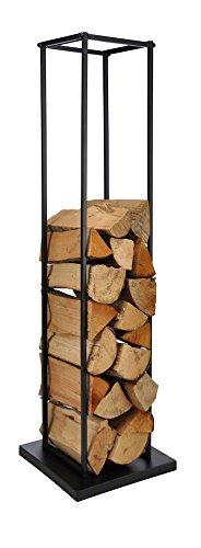 Metall Kaminholzhalter schwarz - Kamin Holz Ständer 121 x 34 x 34 cm - Feuerholz Regal Brennholz Ablage