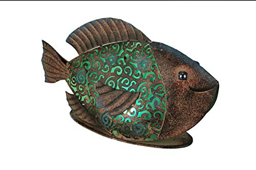 Gerson Rustic Copper Metal Filigree Fish LED Lighted Solar Statue ()