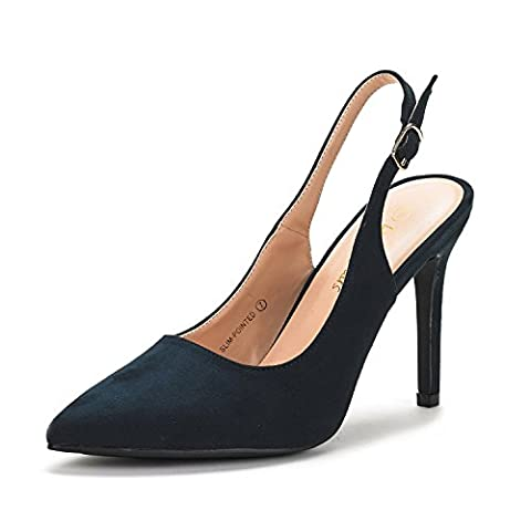 Dream Pairs Women's Slim-Pointed Navy Suede High Heel Pump Shoes - 7.5 M US - Blue Suede Pump Shoes