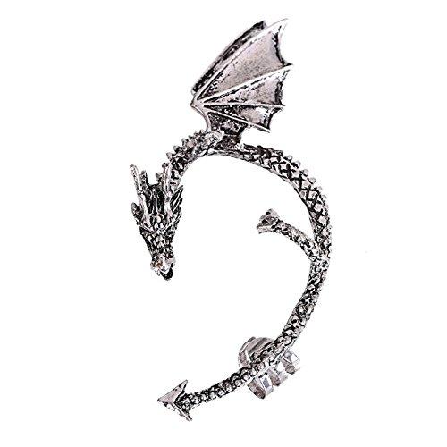 Retro Vintage Silver Bronze Punk Gothic Temptation Metal Dragon Bite Ear Cuff Clip Wrap Earrings. Charm Cuff Earrings For Women Earings Silver