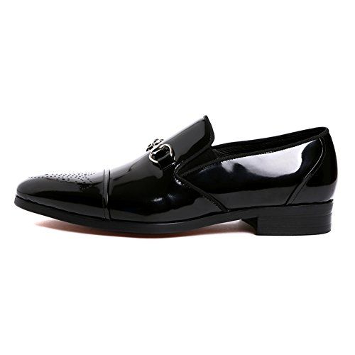 Santimon Heren Penny Loafers Slip Op Lakleder Cap Teen Brogue Walk Shoes Zwart