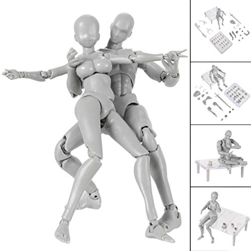 iGREATWALL Action Figure Model, Human Mannequin 2.0 Body Kun Doll Body-Chan Man/Woman Action Figure DX Set with Accessories Kit, Perfect for Drawing, Sketching, ()