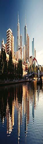 City 3D Decorative Film Privacy Window Film No Glue,Frosted Film Decorative,Idyllic View of Yarra River Melbourne Australia Architecture Tourism,for Home&Office,17.7x59Inch Dark Blue Ivory Dark ()
