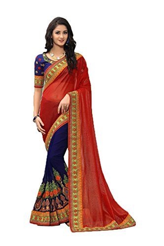 Women Designer Facioun Da Traditional Ethnic for Partywear Sarees Sari Indian Red xIw1qw8S