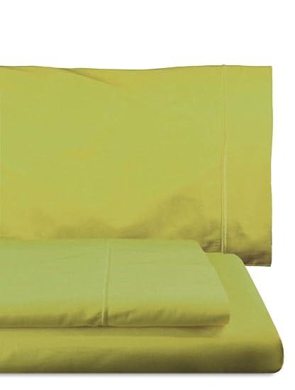 Home Royal - Juego de sábanas compuesto por encimera, 160 x 285 cm, bajera ajustable, 90 x 200 cm, funda para almohada, 45 x 110 cm, color lima