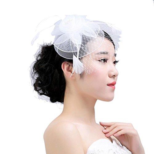 (XILALU Women Fascinator Mesh Kentucky Derby Hat Flower Cocktail Party Headdress Victorian Church Wedding Bridal Headpiece (White))