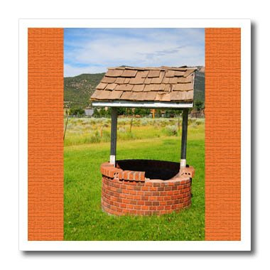 (3dRose Jos Fauxtographee- Wishing Well - A wishing well in Pine Valley Utah with orange on either side - 8x8 Iron on Heat Transfer for White Material (ht_284182_1))
