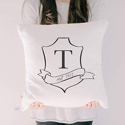 Personalized Throw Pillow - Crest, Handmade in the USA, calligraphy, home decor, wedding gift, engagement present, housewarming gift, cushion cover, throw pillow