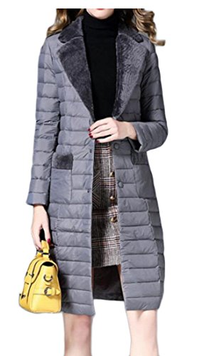 Down amp;S Lapel Packable Women's Casual M Coats Lightweight Gery amp;W Jacket Puffer xa0wqfnRF