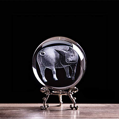 Figurines & Miniatures - Zodiac Pig Figurines 3D Laser Engraved Animal Piggys Statue Crystal Glass Ball 2019 New Home Art Collectible Souvenirs Gift - by GTIN - 1 - Zodiac Animal Ball