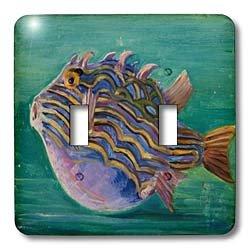 3dRose LLC lsp_128801_2 Victorian Impressionist Painting of Exotic Fish Double Toggle Switch ()