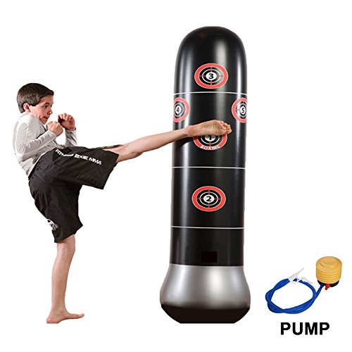 Eforoutdoor Fitness Punching Bag Inflatable Punching Bag Freestanding Kicking Bag De-stress Boxing Target Bag with with Air Inflator Pump for Childrens Adult