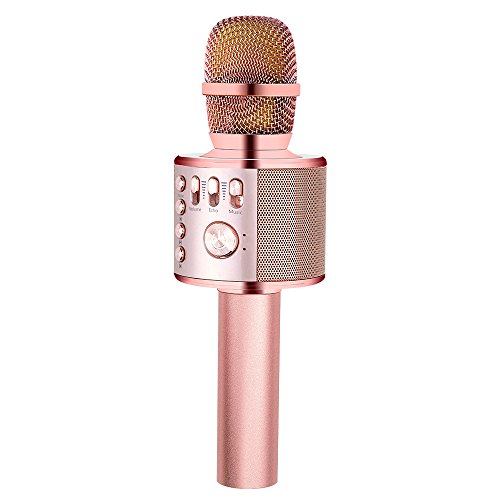 BONAOK Wireless Karaoke Microphone Rose Gold Plus, Easter Gift 3-in-1 Portable Built in Bluetooth Speaker Machine for Android/iPhone/iPad/Sony/PC or All Smartphone