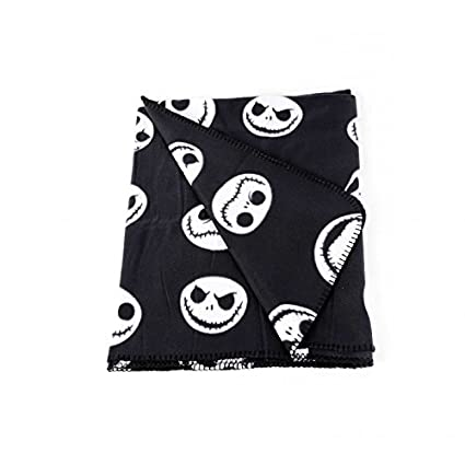 De pesadilla antes de Navidad de forro polar con diseño de cara sonriente de - manta de algodón de colour blanco y negro: Amazon.es: Hogar