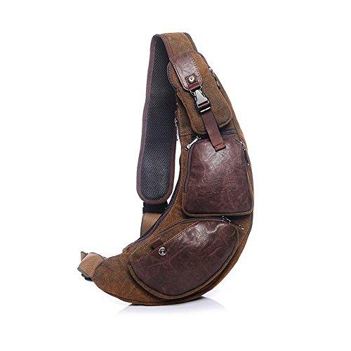 Mens Chest Shoulder Sling Bag Canvas Multi Pocket Hip Belt Crossbody Bag Messenger Bag Casual Bag Tactical Waist Pack - Sunglasses Can Inside Wear You