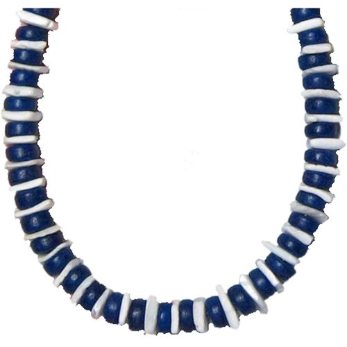 Native Treasure 20 inch Mens Dodger Blue Coco Beads White Chips Puka Shell - La Dodgers Necklace
