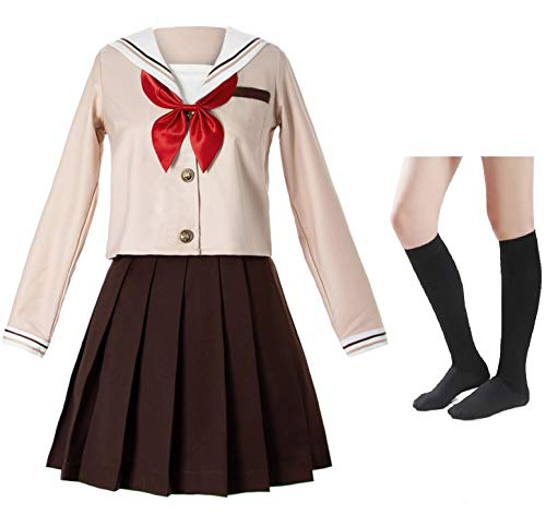Japanese School Girls Sailor JK Uniform Brown Pleated Skirt Anime Cosplay Costumes with Socks Set(SSF28) 3XL - Japanese School Uniform