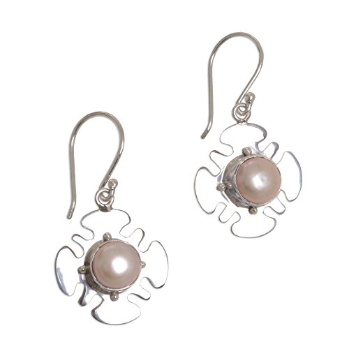 NOVICA Dyed Peach Cultured Freshwater Pearl .925 Sterling Silver Dangle Earrings 'Rose Silhouette'