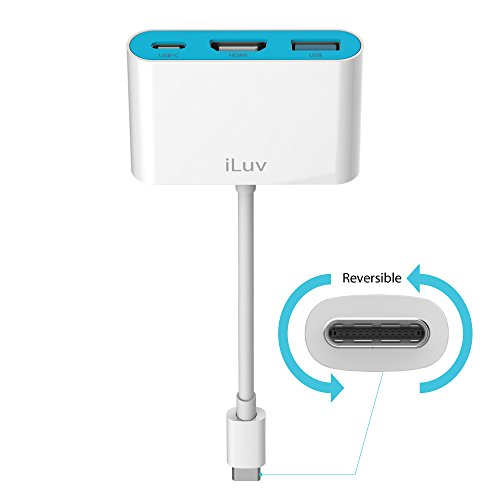 iLuv - USB-C Digital AV Multiport Adapter (White) Compatible with Apple iOS, Windows, Android, Chrome OS
