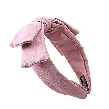 Amazon.com   Special Beauty Nice Headband 2018 New Wide Bow Hair  Accessories Wine Red Suede Headwear Big Bow Headbands for Women Girls Party  Gifts Pink   ... 630c8fc497c