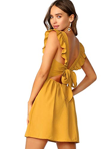 Romwe Women's Cute Tie Back Ruffle Strap A Line Fit and Flare Flowy Short Dress Ginger M (Ginger Tie)