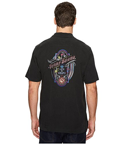 Panel Shirt Camp (Tommy Bahama Embroidered Life is Grape Silk Camp Shirt (Color: Black, Size 3XL))