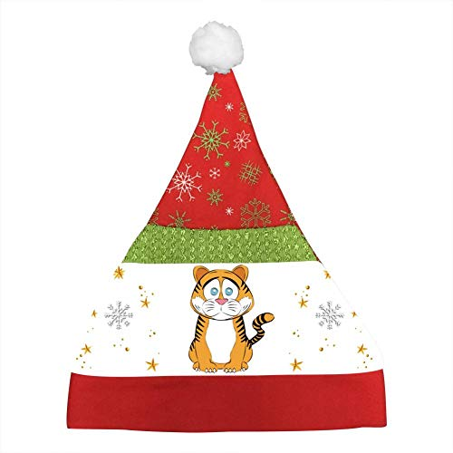 - Custom Sad Tiger Christmas Hat Xmas Mini Santa Caps Party Cap Kids Adults