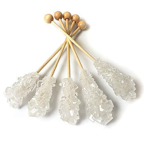 Barista Swizzle Sugar Sticks | Rock Candy Crystals | Individually wrapped | Great for Coffee Tea Matcha Cocktails | White, 25 pieces | Made in the USA]()