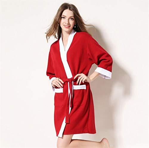 con da sudore XLNNSY cotone donna notte camicia rosso da Accappatoio in pffYP4