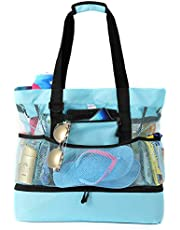 Beach Tote Bag with Insulated Leak-Proof Cooler Large Capacity with Mesh Pocket for Travel