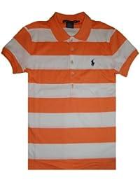 Ralph Lauren Sport Women's Short Sleeve Rugby Polo Shirt White/Orange Stripes