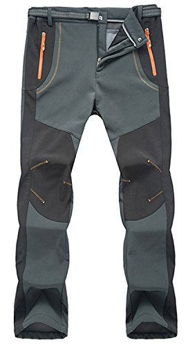 TBMPOY Men's Lightweight Winter Windproof Fleece Lined Snow Ski Pants(02 Thick Grey,us M)