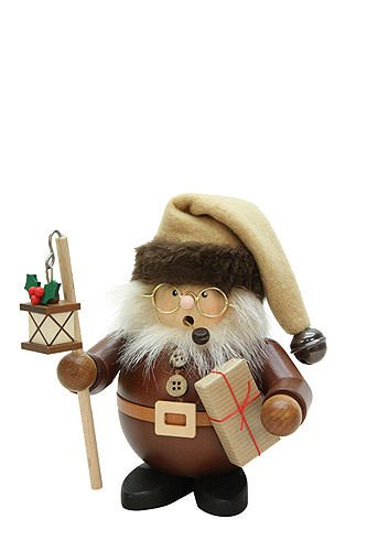 German Incense Smokers Santa with Lantern natural wood - 15,5cm / 6 inch - Christian Ulbricht by Authentic German Erzgebirge Handcraft
