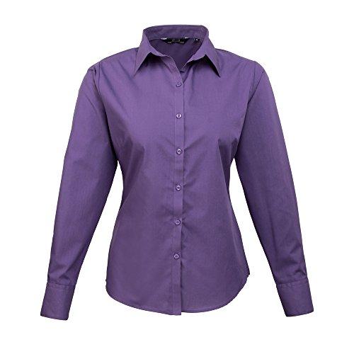 Premier para mujer Popelina blusa de manga larga morado