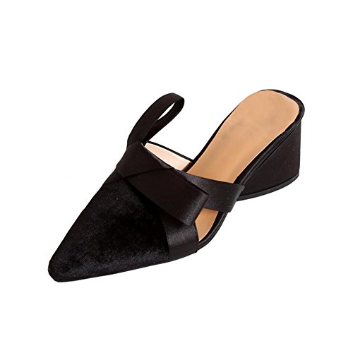KJJDE Sandalias Mujer Zapatilla Chanclas WSXY-L0110 Bowknot Creativo Confort Peep Toe Tacón Zapatos Para Caminar Black
