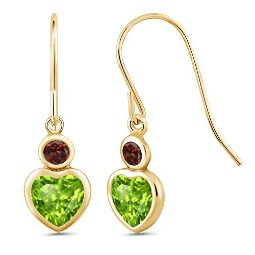 Gem Stone King 1.26 Ct Heart Shape Green Peridot Red Garnet 14K Yellow Gold Earrings ()