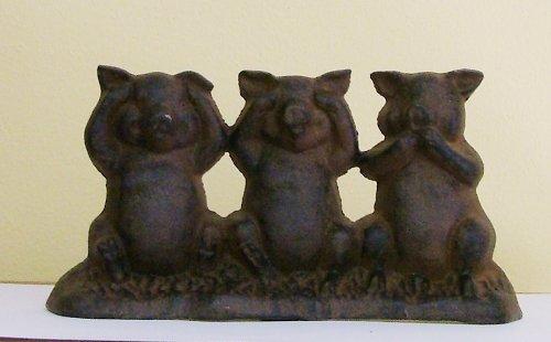 Three Little Pigs Cast Iron Doorstop Statuary