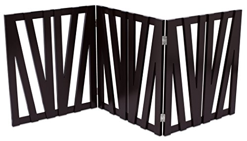 Internet's Best Decorative Pet Gate | 3 Panel | 24 Inch Step Over Fence | Free Standing Folding Z Shape Indoor Doorway Hall Stairs Dog Puppy Gate | Fully Assembled | Espresso | Wooden