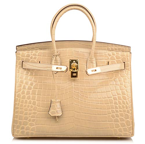 Qidell Women's Padlock Patent Leather Crocodile Embossed Handbag On Clearance (35 cm.Taupe) by QIDELL (Image #1)