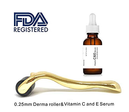 Dermapeel Vitamin C And E Day Serum With Hyaluronic Acid Anti Aging Skin Care Product Anti Wrinkle Serum Will Fill Fine Lines Even Skin Tone And Fade Age Spots Plus 0 25Mm Derma Roller