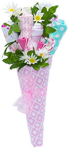 Nikki's New Baby Blossom Clothing Bouquet Gift (Blue or Pink) | Baby Girl Pink