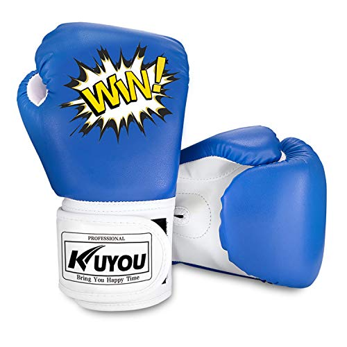 oves, Pu Kids Children Cartoon Sparring Boxing Gloves Training Age 5-12 Years (Blue) ()