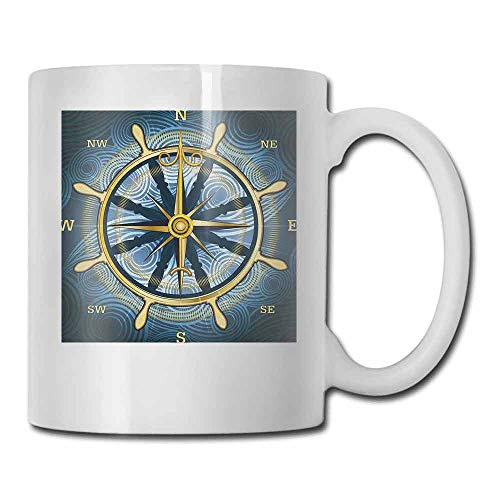 Compass Porcelain Tea Mug Navigation Golden Compass with Windrose and Helm on a Wavy Backdrop Maritime Tea Bag Yellow Navy Blue 11oz