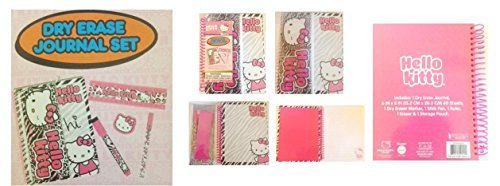 Hello Kitty Zebra Dry Erase Journal Set 6 pcs (journal, marker, pen, ruler, eraser and pencil pouch)