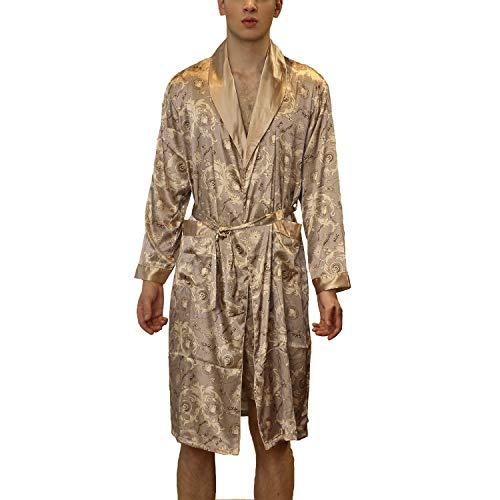 Lu's Chic Men's Satin Kimono Robe Silk Bathrobe Loungewear Spa Long Sleeve Pockets Sleepwear Khaki US M (TagXL)