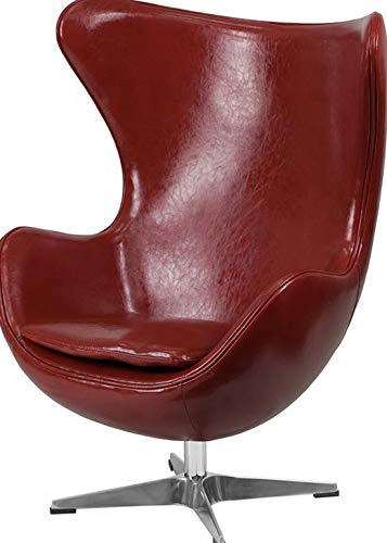 Campton Red Leathersoft Egg Chair with Tilt-Lock Mechanism Office Accent Lounge Chair | Model LNGCHR - 124 (Maui Furniture Office)