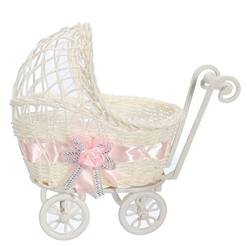 Ben Collection Wicker Baby Girl 9 Inch Carriage Collection - Baby Shower Centerpiece Stroller Party Favors (Pink)