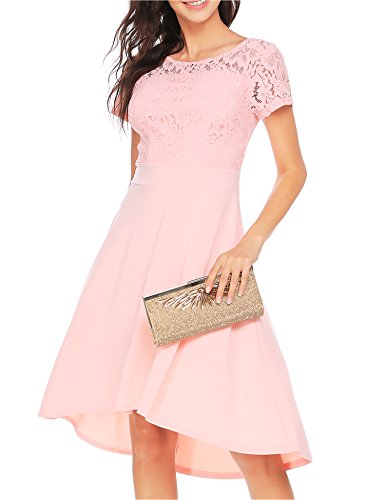 Women Lace Floral Patchwork Asymmetric Cocktail Party Casual Swing Dress