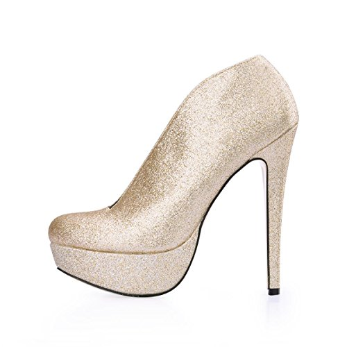 4U Boots Sole Stiletto Golden Ankle Toe Shoes Rubber Round Glitter Women's Best Bling Heels 14CM High qdFwRqxp4