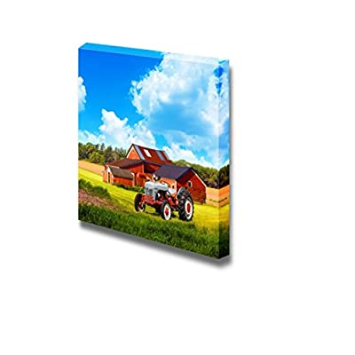 Canvas Prints Wall Art - Traditional American Country Farm with Blue Cloudy Sky | Modern Wall Decor/Home Art Stretched Gallery Canvas Wrap Giclee Print & Ready to Hang - 16
